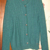 vtg GEIGER mohair wool  teal green  Women AUSTRIA Cardigan Walk SWEATER sz med