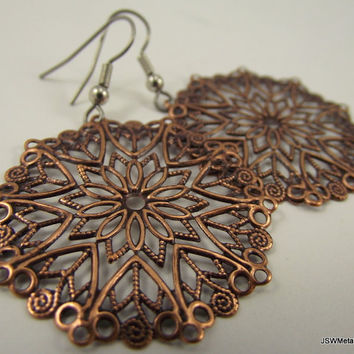 Round Antiqued Copper Filigree Earrings  Copper by JSWMetalWorks