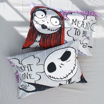 Licensed cool Disney The Nightmare Before Christmas Jack Sally Misfit Love Pillowcase Set NIP
