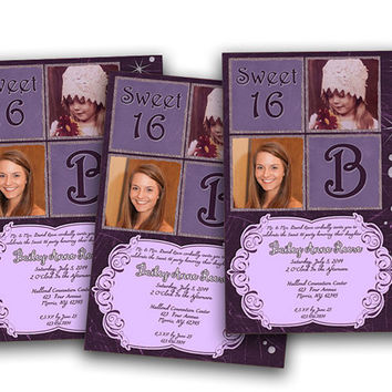 Purple Bling Then and Now Photo Invitation - Sweet 16 Birthday Bash - Teen Girl Party Invites - Monogram - Lavender - Rhinestone