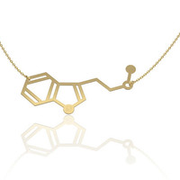 DMT molecule necklace - 14K gold chemistry jewelry, chemistry necklace, molecule necklace