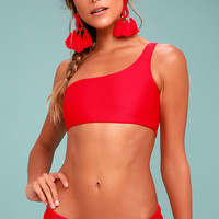 KAOHS Swim Becky Red One Shoulder Bikini Top