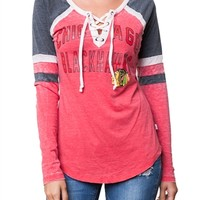 Chicago Blackhawks Womens Laceup Long Sleeve Top | SportyThreads.com
