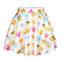 Raisevern 2015 new funny 3D emoji skirt mini summer skirt white/black/blue color faldas emoji cartoon skirt free shipping