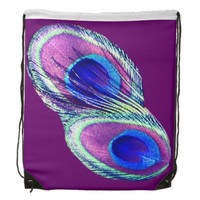 Radiant Peacock Purple Drawstring Backpack