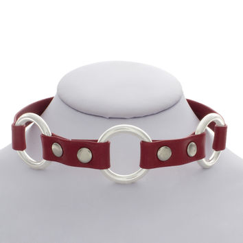 Red Leather Three Ring Choker