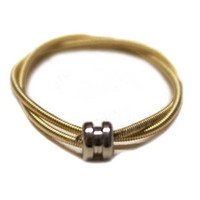 Recycled Guitar String Ring w/ center Bead