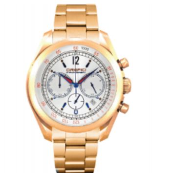 Orefici Vintage Chronograph Rose Gold Tone Silver Dial Watch