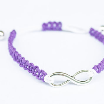 Purple and White Infinity Bracelet