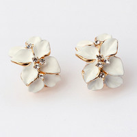 Orchid Rhinestone Fashion Earrings (White) - LilyFair Jewelry