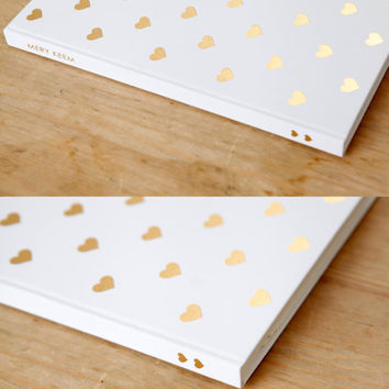 FREE SHIPPING - Heart Gold Foil Journal/Notebook in White Background