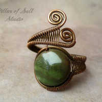 Wire wrapped jewelry handmade, Copper Wire Wrapped Ring, adjustable ring, earthy jewelry, green Rainforest agate gemstone, copper jewelry