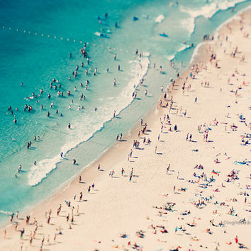 Beach photography, large aerial beach photo, dreamy aqua blue sea, ocean, people beach umbrellas art, wall decor, home  decor, wall art