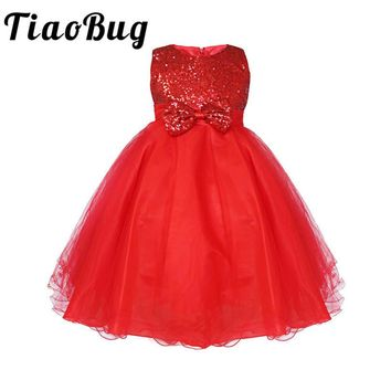TiaoBug Infant Girls Flower Dress Birthday Party Pageant Princess Formal Dress Sequined Bow Tulle Tutu Dress for Bridesmaid