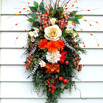 Fall door swag, fall door wreath, teardrop swag, country rustic decor, floral door swag, fixer upper swag, Autumn swag, rustic decor