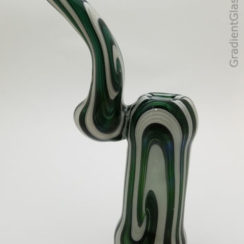 Green White Glass Bubbler With Wig-Wag Bowl