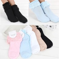 1 Pair Sweet  Vintage Lace Princess  Socks Ladies Girls  Women Lace Ruffle Frilly Ankle Socks