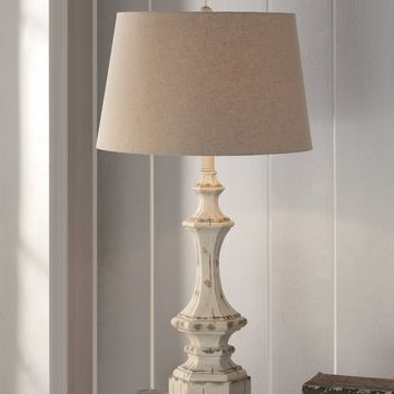 "Wooden Column Table Lamp 34""Ht"