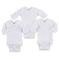 Gerber OnesuitS® Brand 3-Pack Long-Sleeve Bodysuits in White