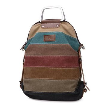 Striped canvas women backpack multifunction women's bag it can be wear as women shoulder bag and crossbody bags