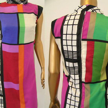Geometric Color Block Mondrian Mini Dress Montana Pattern.  XS