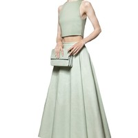 alice + olivia | DAVEN LEATHER CENTER PLEAT LONG SKIRT