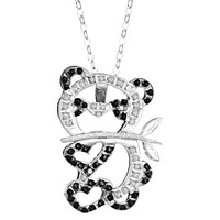 Sterling Silver Panda Pendant Necklace with Crushed Diamonds - White