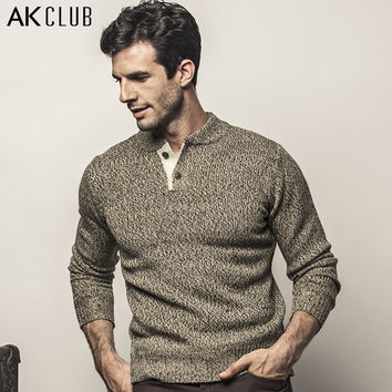 AK CLUB Brand Sweater Henley Collar The Expendables 3 Contrast Color Closing Fly Sweater Men Casual Alpaca Wool Sweater 1503838