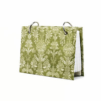 Index card binder, celery green damask, daily memory journal, index card holder with a set of index card dividers