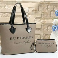 Burberry New Fashion Women Shopping Bag Leather Tote Handbag Shoulder Bag Zipper Purse Wallet Two Piece Set Grey I-WMXB-PFSH