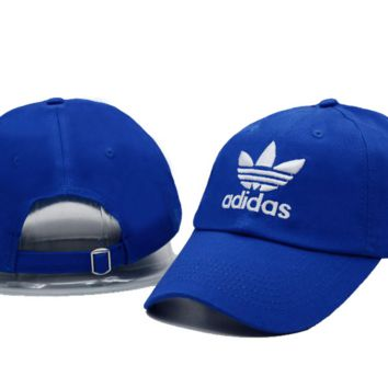 Blue Adidas Embroidered Unisex Couple's Cotton Baseball Golf Sports Cap Hats