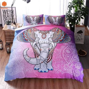 Cool 2017Bohemian Elephant Duvet Cover Set Single Double Queen King 2/3pcs Bedclothes Bed Linen Bedding Sets(No Sheet No Filling)AT_93_12