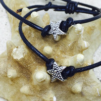 Starfish bracelet adjustable leather bracelet surfer jewelry beach inspired knotted starfish unisex jewelry unique mermaid bracelet seagypsy
