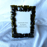 Rustic Recycled Wine Bottle Glass Picture Frame Green Handmade Gift for Him Gift for Her