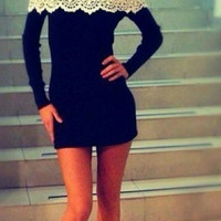 AUTUMN WINTER SPRING LONG SLEEVE WHITE LACE COLLAR DRESS A WORD