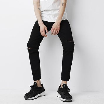 YINOS Black Knee Hole Ripped Moustache Distressed Men Jeans Ankle-Length High Stretch Skinny Trousers Slim Fit Pants Street 2017