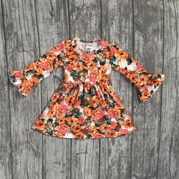 new fall/winter baby girls milk silk soft cotton dress orange floral flower print ruffle long sleeve children clothes boutique