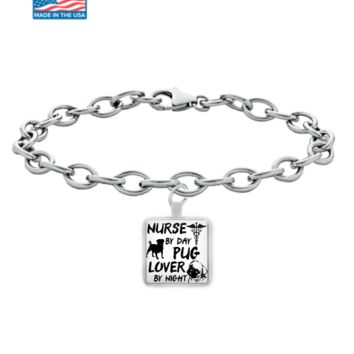 Nurse by Day Pug Lover by Night Bracelet Nurse-Pug-Lover2