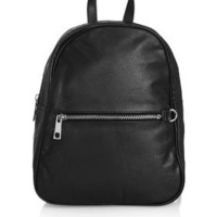 Clean Leather Backpack - Black