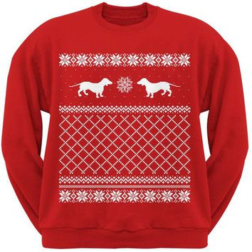 LMFCY8 Dachshund Ugly Christmas Sweater Red Adult Crew Neck Sweatshirt