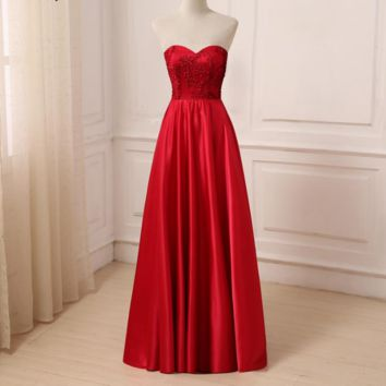 Red Evening Dress Sleeveless Sweetheart Floor Length A-line Formal Evening Dresses Prom Gowns