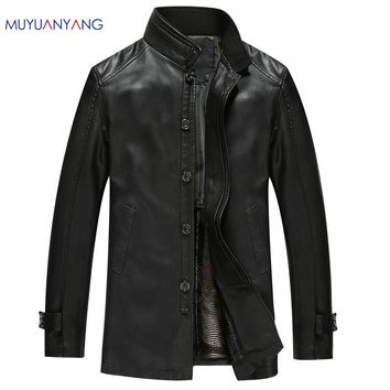 Leather Jacket Men Winter Jackets And Coats Men Fashion Thicken Windbreak Coat Classic Black Faux Leather Jacket