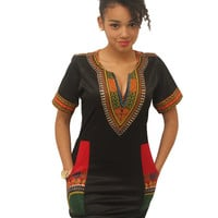 Short Sleeve African Dashiki Printed Pocket Detail Dress