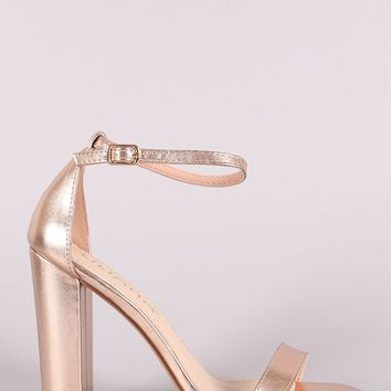 Metallic Leather Open Toe Ankle Strap Chunky Heel