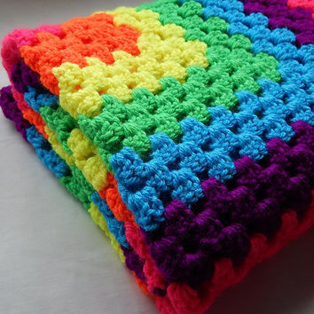 Neon Rainbow Baby Blanket Crochet Granny Square Lap Blanket Baby Girl Crochet Throw Blanket Baby Afghan Pink Orange Yellow Green Blue Purple