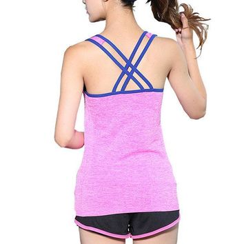 CREYYN6 4Colors Quick Dry Running Vest  Sexy Cross Back Tops  Sleeveless Tank Tops For Women Sport Wear Yoga Shirt M-L