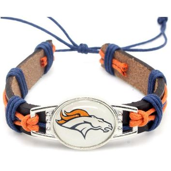 Newest Denver Broncos Football Team Leather Bracelet Adjustable Leather Cuff Bracelet For Men and Women Fans 10pcs/lot