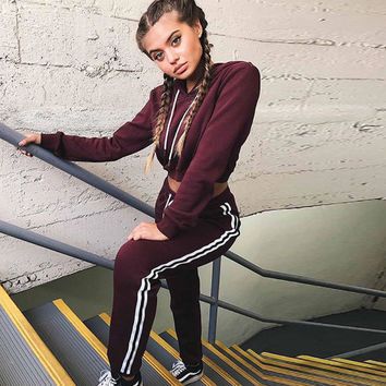 Jezelle Burgundy Cropped Sweat Suit