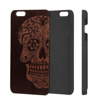 U&I Unique Natural Handmade Cool Phone Case Wood For Iphone 5 5s 6 6plus 7 7plus Engraving Skull Head and Hard PC Shockproof