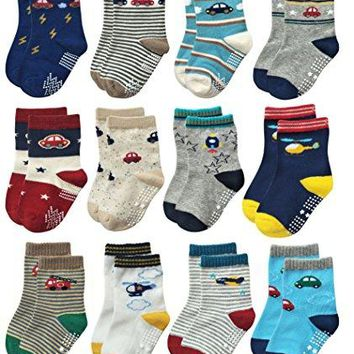 Deluxe Non Skid Anti Slip Slipper Cotton Crew Socks With Grips For Baby Toddlers Kids Boys (9-18 Months, 12 designs/assorted)